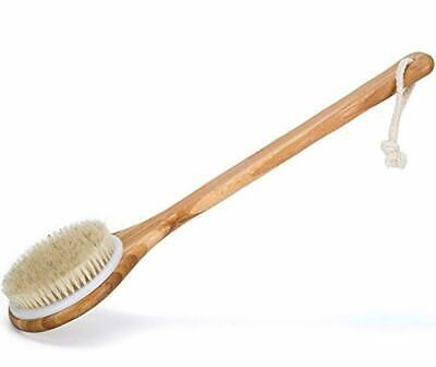Bath Dry Body Brush-Natural Bristles Back Scrubber With Long Wooden Handle C