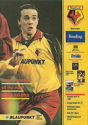 Football Programme - Watford Town v Reading - Div 1 - 16/4/1996