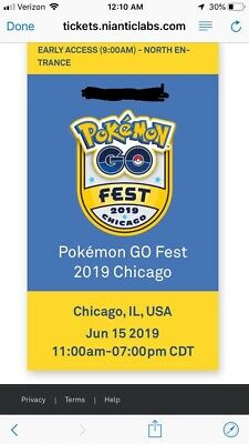 Chicago GoFest 2019 Pokemon Go account Sold Out Saturday Ticket Early Access