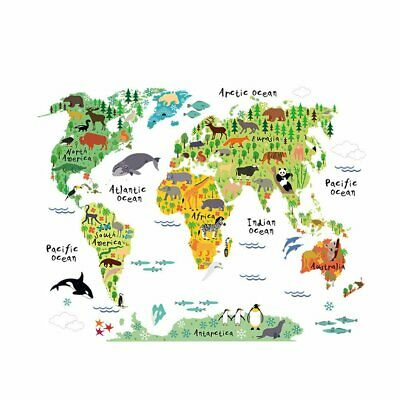 Colorful Animal World Map Wall Sticker Home Decal Mural Art Diy Wall Ar_UK