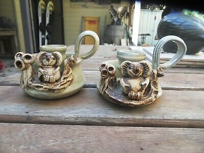 2 Australian Pottery Candle Holders with koalas and Gumnuts
