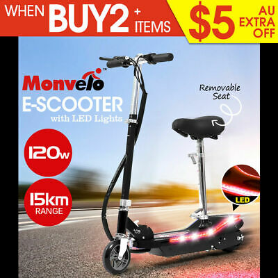 Monvelo Folding Electric Scooter LED Portable Commuter Adult Kids e-Bike Black