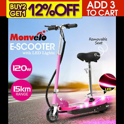 Monvelo Folding Electric Scooter LED Portable Commuter Adults Kids eBike AU Pink