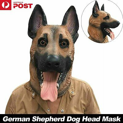 German Shepherd Dog Head Mask Latex Prop Costume Rubber Party Halloween Animal
