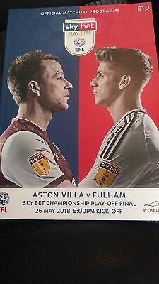 Aston Villa V Fulham Skybet Championship Play Off Final 26Th May 2018 Programme