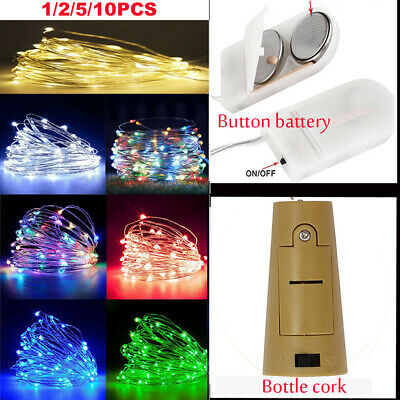 2M 20 LED Battery Micro Rice Wire Copper Fairy String Lights Bottle Cork Party