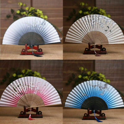 Chinese Japanese Folding Silk Hand Held Fan Plum Blossom Bamboo Pocket Fan Party