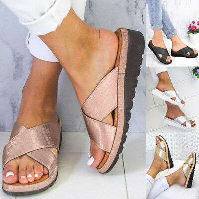UK Womens PU Leather Summer Sandals Slippers Ladies Flat Toe Post Slip On Shoes