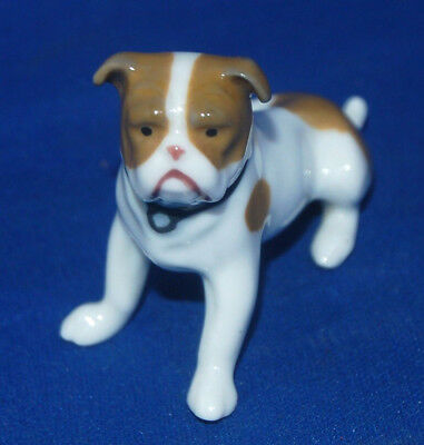 A lovely antique, vintage small porcelain bulldog figure by Metzler and Ortloff