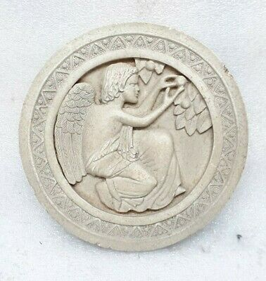 Vintage Old Stoneware Ceramic Stone Wall Tile Angel Figure Round Collectible ARA
