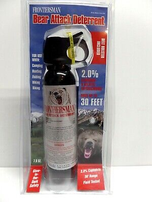 NEW Sabre Frontiersman Bear Spray 7.9oz w/Belt Holster Maximum Strength 30' Rng