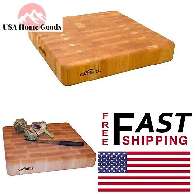 Square End Grain Block Hardwood Cutting Board With Finger Grooves Reversible