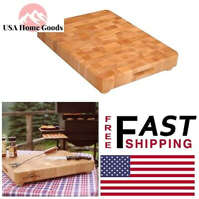 Hardwood Cutting Board with Feet End Grain Chopping Tool Home Kitchen Butcher