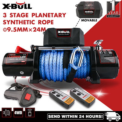 X-BULL14500LB IP67 Electric Winch 26M Synthetic Rope 12V 6577kg 2x Remote 4WD