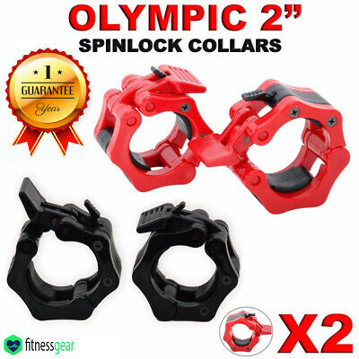 "2"" Olympic Weight Lifting Barbell Dumbbell Bar Spinlock Collars Pair Set"