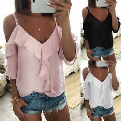 Womens Cold Shoulder Backless T-Shirt Ladies Summer Beach Ruffle Tops Blouses UK