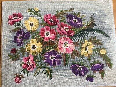"French Vintage 14""x 18"" Needlepoint Tapestry ranulculus Rose Royal Paris Flowers"