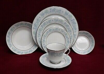 NORITAKE china MILFORD 2227 pattern 7-piece Place Setting w/ Fruit & Soup Bowls
