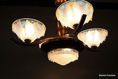 Antique French Ezan Art Deco Copper Chandelier 4 Arm Opalescent Glass Shades