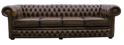 New Chesterfield Sofa 4 Seater Genuine Leather Couch Antique Tan