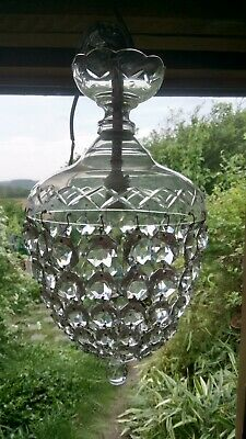 Antique / Vintage French Basket Chrome & Crystal Chandelier