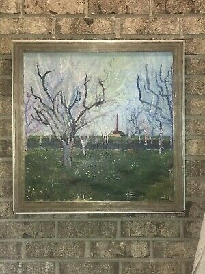 Original Vintage OOC Oil Painting Trees Orchard Farm Framed Signed  22 7/8x23