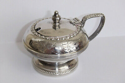 Lovely Vintage Hand Engraved Silver Plated Mustard Pot with Blue Glass Liner