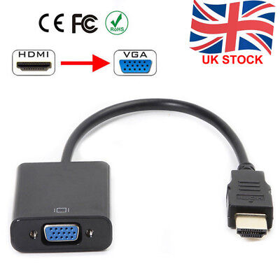 In UK 1080P HDMI Male to VGA Female Video Cable Cord Converter Adapter For PC