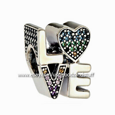 6588c29a6 Multi-Color CZ Love Authentic Pandora Sterling Silver Charm 797189NRPMX