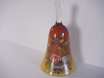 Continental Exotic Bird Decorated Heavy Glass Bell