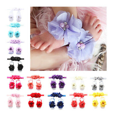 Eg_ Newborn Baby Girls Lace Hair Band + Barefoot Sandals Foot Flower Headband Bl