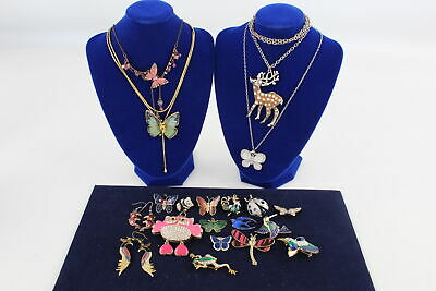 20 x Vintage ENAMEL ANIMAL MOTIF JEWELLERY inc. Bugs, Butterflies, Owls, Birds