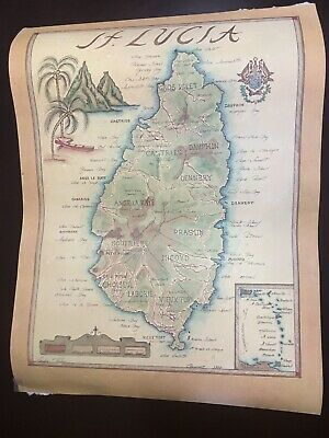 St Lucia Poster Map 1978 Xandra Fisher Hand Drawn