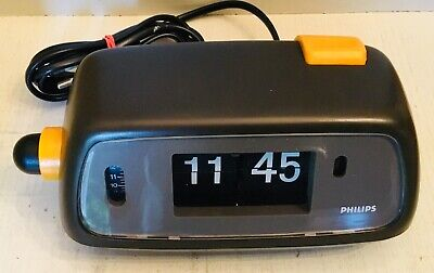 PHILIPS Vintage electronic flip clock with alarm TESTED & WORKING