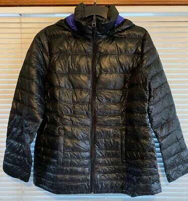 NWoT Blue Saks Fifth Avenue Women's Down Puffer Hoodie Jacket Packable Full Zip