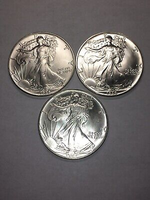 1986 1 oz Silver American Eagle-              Lot Of 3