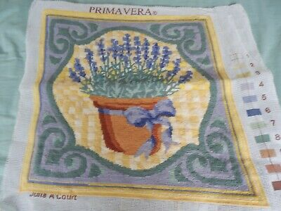 Completed Tapestry Primavera - Potted Lavender - really pretty