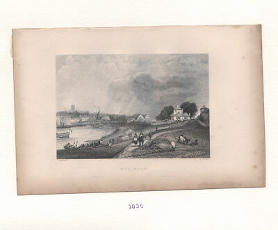 Woolwich * Very Rare Antique Print Engraving * Uk
