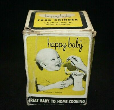 HAPPY BABY Food Grinder USA Bowland Jacobs Mfg Co  VINTAGE in Box w/ Instruction