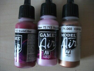 Nail Art Airbrush Paint Set 3 x 17ml bottles  Red,Pink and Copper acrylics