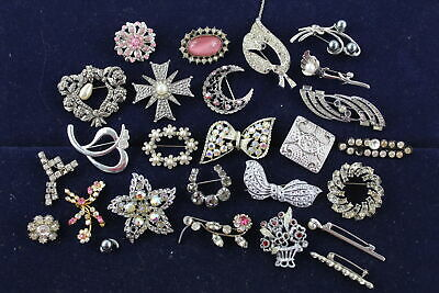 25 x Vintage & Retro Rhinestone BROOCHES inc. Stone Set, Floral, Art Deco Style