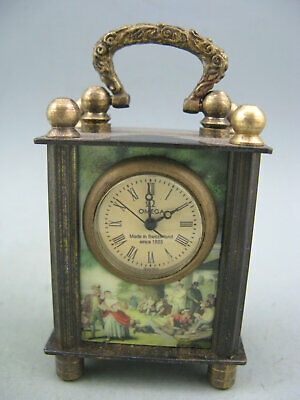 GOOD QUALITY OLD BRASS CARRIAGE CLOCK-Enamel painting-Beautiful