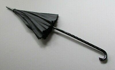 Small ANTIQUE 19th Century BLACK SILK Victorian Era PARASOL circa 1890