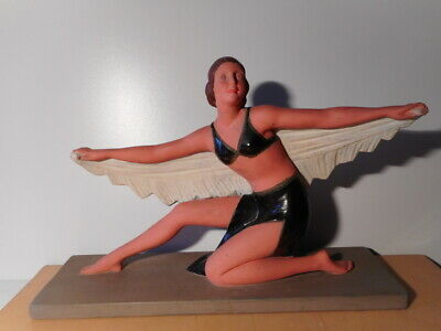 Bronze Sculpture Statue Plaster Art Deco Dancer Young Lady Signed