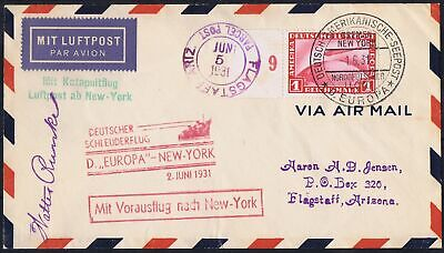 German Reich 1931 Mi 455 Catapult Airmail cover used
