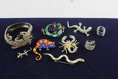10 x Vintage ANIMAL MOTIF JEWELLERY inc. Snakes, Lizards, Brooches, Rings
