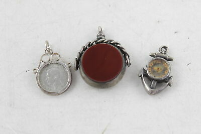 3 x Vintage / Antique Hallmarked .925 Sterling Silver FOBS Compass, Seal (15g)