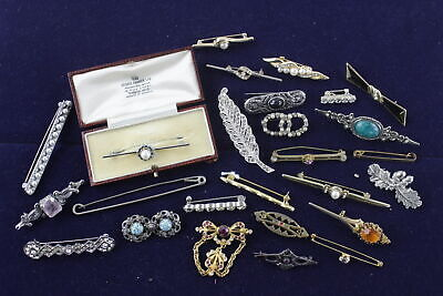 25 x Vintage & Retro BAR BROOCHES w/ Gold & Silver Tone, Faux Pearls, Rhinestone