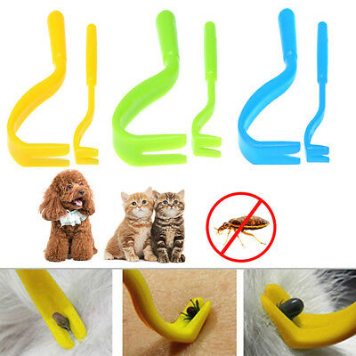 KD_ Pet Dog Cat Human Tick Fleas Remover Removal Twister Tool Treatment 2 Hook