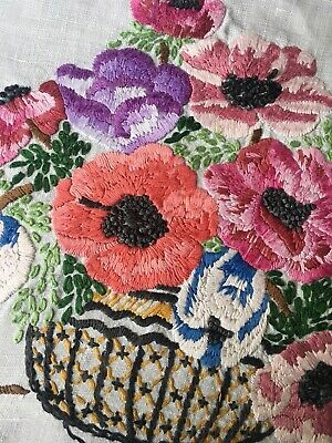 Vintage Hand Embroidered Tray cloth/ Topper ~Anemone Flowers Beautiful